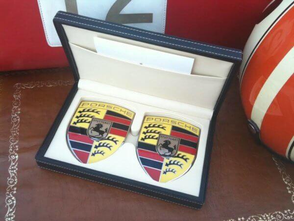 Porsche 911 enamel wing emblems.