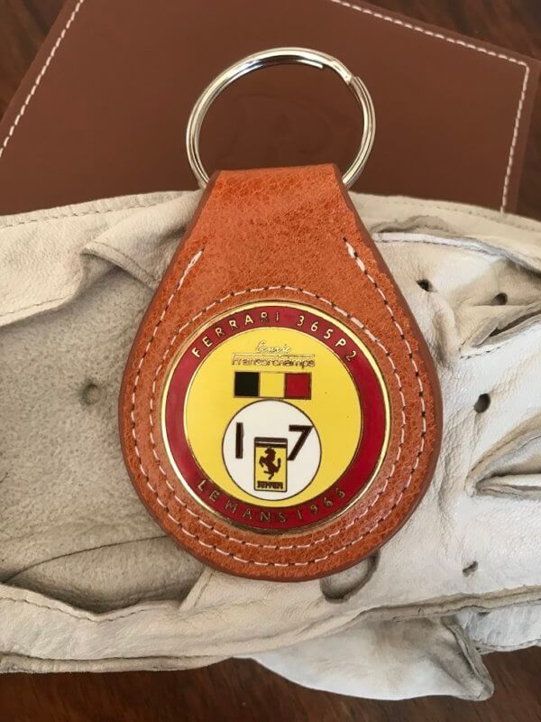 Ferrari Francorchamps Le mans keychain in leather